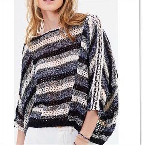 Free People Pearl Searching Linen Blend Sweater L